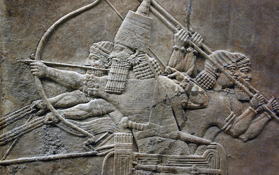 Ashurbanipal taking aim at a lion (detail), Lion Hunts of Ashurbanipal (ruled 669-630 B.C.E.), c. 645 B.C.E., gypsum,Neo-Assyrian, hall reliefs from Palace at Ninevah across the Tigris from present day Mosul, Iraq (British Museum)