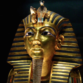 Death Mask from innermost coffin, Tutankhamun's tomb, New Kingdom, 18th Dynasty, c. 1323 B.C.E., gold with inlay of enamel and semiprecious stones (Egyptian Museum, Cairo) (photo: Bjørn Christian Tørrissen, CC BY-SA 3.0)