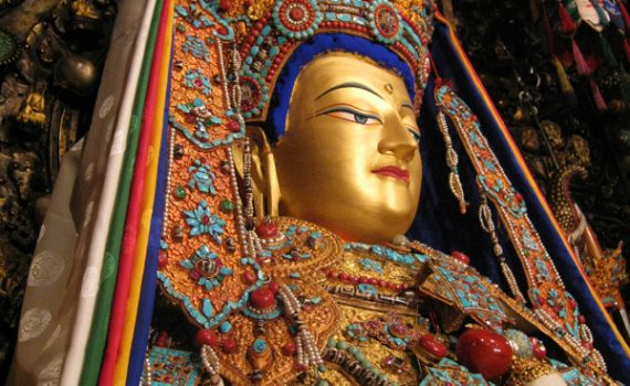 Jowo Shakyamuni, Jokhang Temple, Lhasa, Tibet. Yarlung Dynasty, brought to Tibet in 641(?) Gilt metals with semiprecious stones, pearls, and paint; various offerings