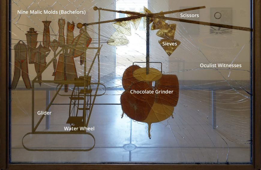 Lower pane annotated, Marcel Duchamp, The Bride Stripped Bare by Her Bachelors, Even (The Large Glass), 1915-23, oil, varnish, lead foil, lead wire, dust, two glass panels, 277.5 × 177.8 × 8.6 cm © Succession Marcel Duchamp (Philadelphia Museum of Art)