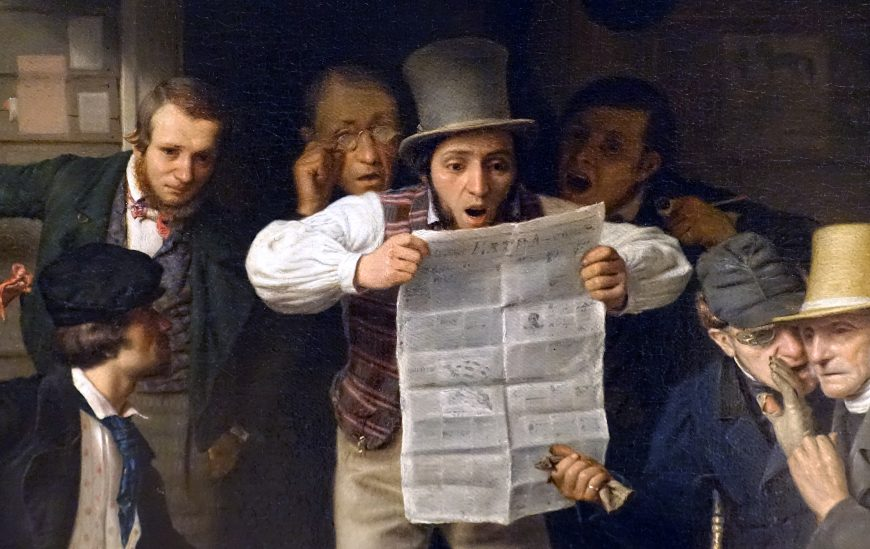 Newspaper (detail), Richard Caton Woodville, War News from Mexico, 1848, oil on canvas, 68.6 × 63.5 cm (Crystal Bridges Museum of American Art, Bentonville, Arkansas)