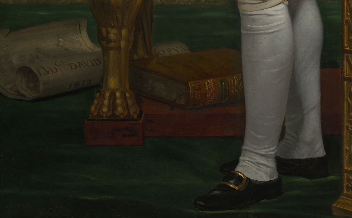 Signature and book by Plutarch (detail), Jacques-Louis David, The Emperor Napoleon in his Study at the Tuileries, 1812, oil on canvas, 203.9 x 125.1 cm (National Gallery of Art)