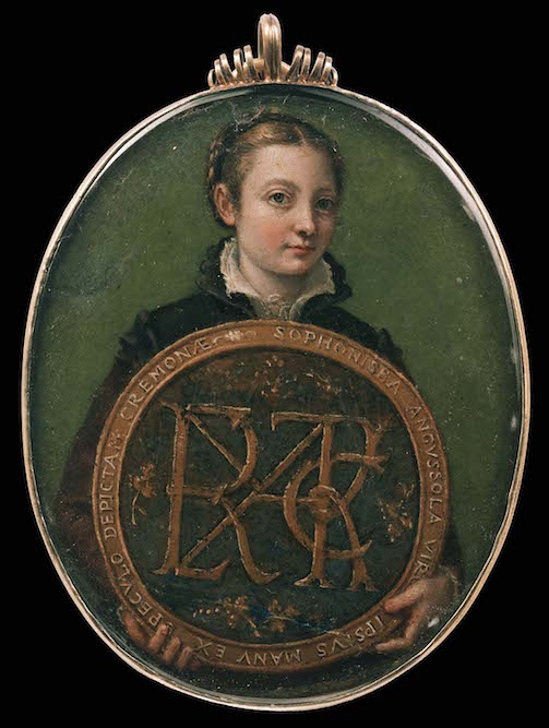"Sofonisba Anguissola, <em>Self-Portrait</em>, c. 1556, varnished watercolor on parchment, 8.3 x 6.4 cm (Museum of Fine Arts, Boston). The medallion is inscribed in Latin: ""The maiden Sofonisba Anguissola, depicted by her own hand, from a mirror, at Cremona."""