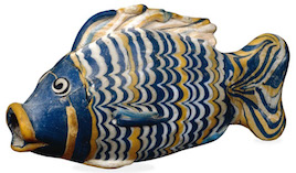 Glass bottle in the form of a fish, c. 1390-1336 B.C.E., 18th Dynasty, glass, 14.5 cm, el-Amarna, Egypt © Trustees of the British Museum