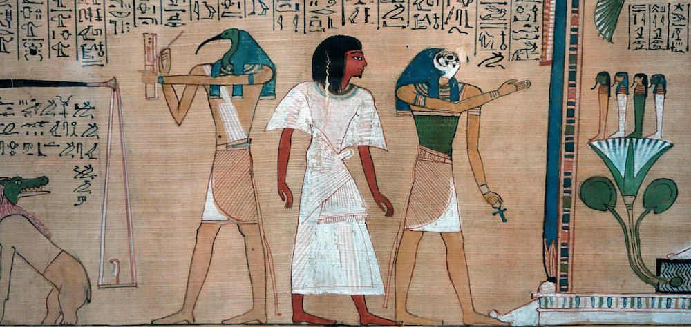Hunefer's Judgement in the presence of Osiris, Book of the Dead of Hunefer, 19th Dynasty, New Kingdom, c. 1275 B.C.E., papyrus, Thebes, Egypt (British Museum)