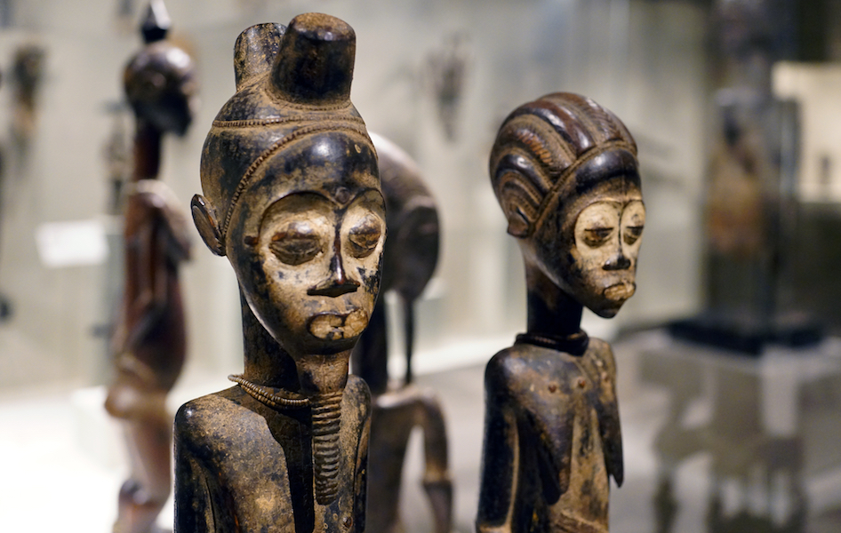 Detail, Pair of Diviner's Figures, Côte d'Ivoire, central Côte d'Ivoire, Baule peoples, wood, pigment, beads and iron, 55.4 x 10.2 x 10.5 cm (The Metropolitan Museum of Art)