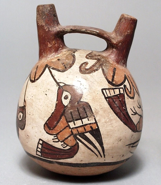 Double-Spout and Bridge Vessel, c. 100-700 C.E., Nasca, Peru, polychrome ceramic, 12.07 x 10.16 cm (Los Angeles County Museum of Art)
