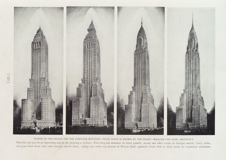 Stages in the design for the Chrysler building, Progressive Architecture, v. 10, July-Dec 1929, page 525