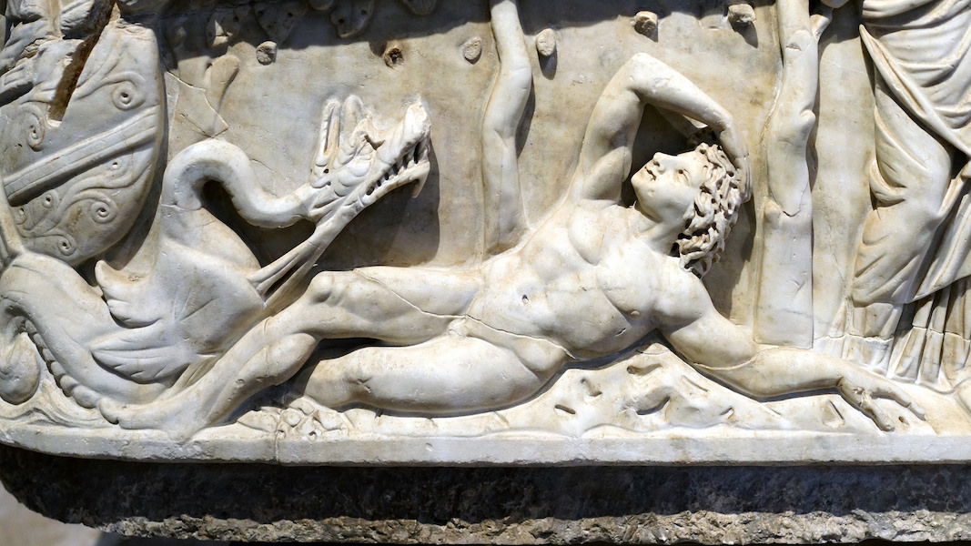 Jonah (detail), Santa Maria Antiqua Sarcophagus, c. 275 C.E., white veined marble, found under the floor of Santa Maria Antiqua, Rome
