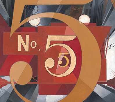 Charles Demuth, I Saw the Figure 5 in Gold, 1928, oil on cardboard, 90.2 x 76.2 cm (The Metropolitan Museum of Art, New York)