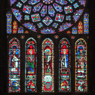 North Transept Rose Window, c. 1235, Chartres Cathedral, France—video here