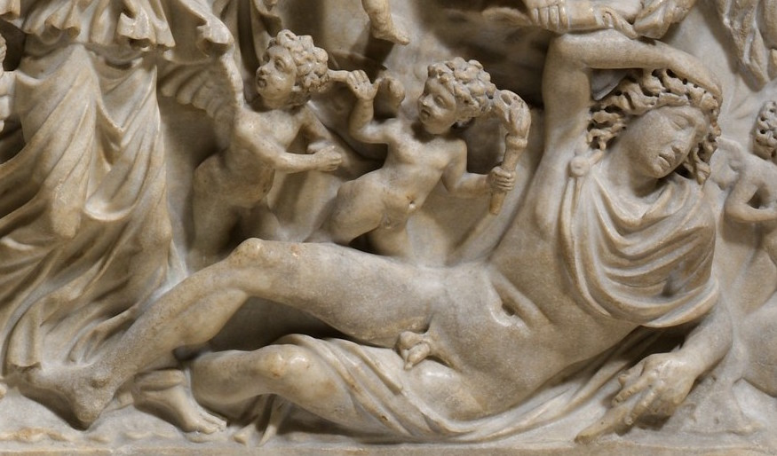 Endymion (detail), Marble sarcophagus with the myth of Selene and Endymion, early 3rd century C.E., Roman, marble, 28 1/2 inches / 72.39 cm high (The Metropolitan Museum of Art)
