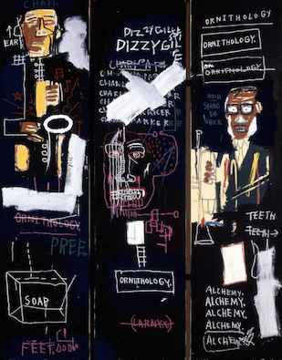 Jean-Michel Basquiat, Horn Players, 1983, acrylic and oilstick on three canvas panels mounted on wood supports, 243.8 x 190.5 cm (The Broad Art Foundation) © The Estate of Jean-Michel Basquiat (zoomable image here)