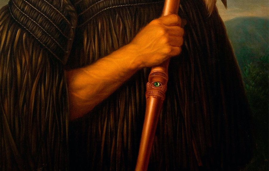 Paua eye in tewhatewha (detail), Gottfried Lindauer, Tamati Waka Nene, 1890, oil on canvas, 101.9 x 84.2 cm (Auckland Art Gallery)