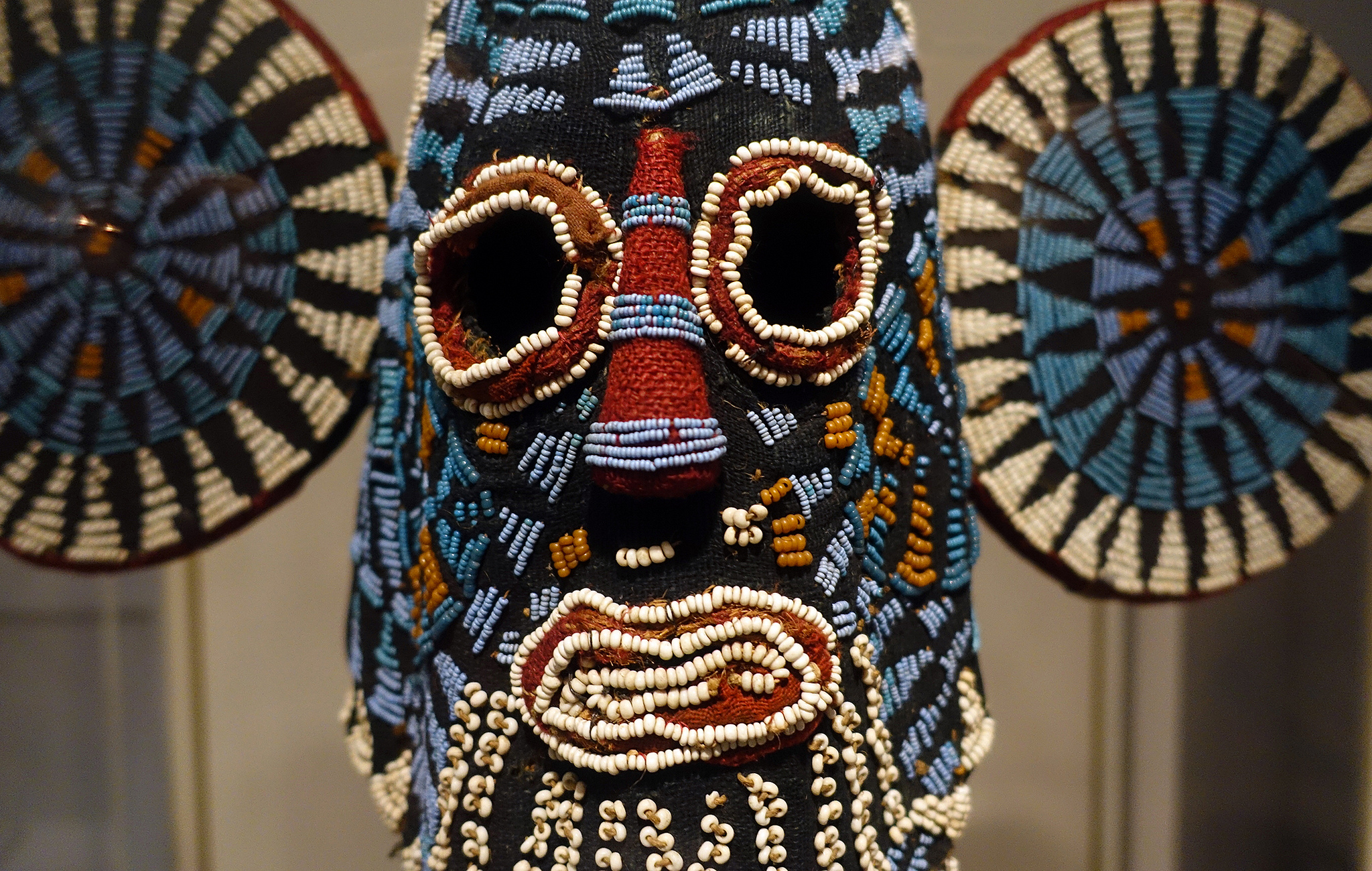 Elephant (Aka) Mask, Kuosi Society, Bamileke Peoples, Grassfields region of Cameroon, 20th century, cloth, beads, raffia, fiber, 146.7 x 52.1 x 29.2 cm (Brooklyn Museum)