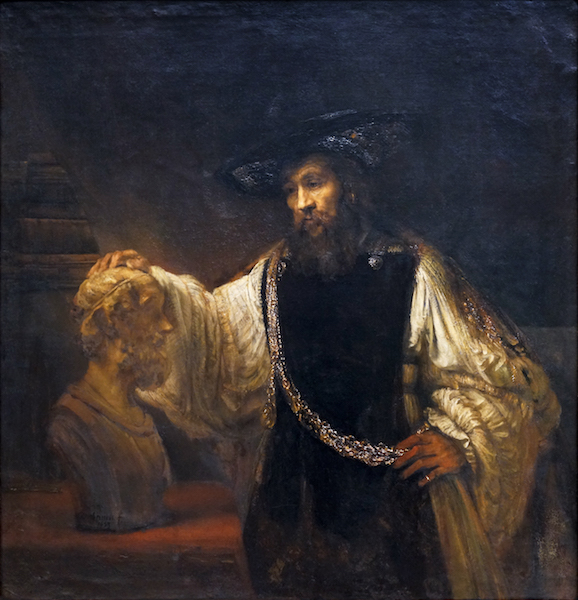 Rembrandt, Aristotle with a Bust of Homer, 1653, oil on canvas, 143.5 x 136.5 cm (The Metropolitan Museum of Art)