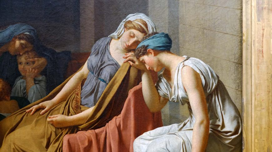 Jacques-Louis David, Oath of the Horatii, 1784, oil on canvas, 3.3 x 4.25 m, painted in Rome, exhibited at the salon of 1785 (Musée du Louvre)