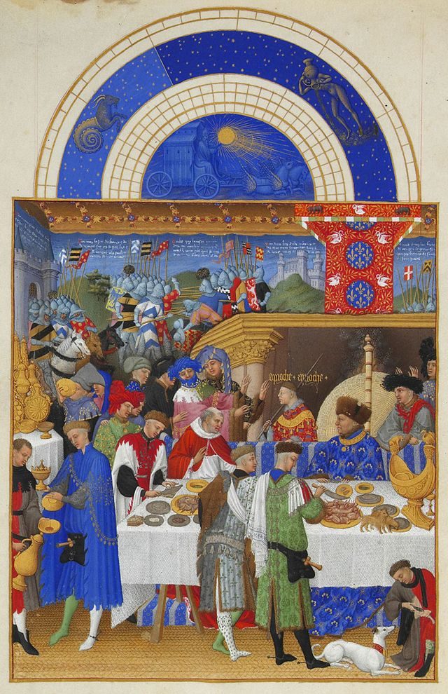 Limbourg Brothers, January, from Les Très Riches Heures du Duc de Berry, 1413-16, ink on vellum (Musée Condé, Chantilly)
