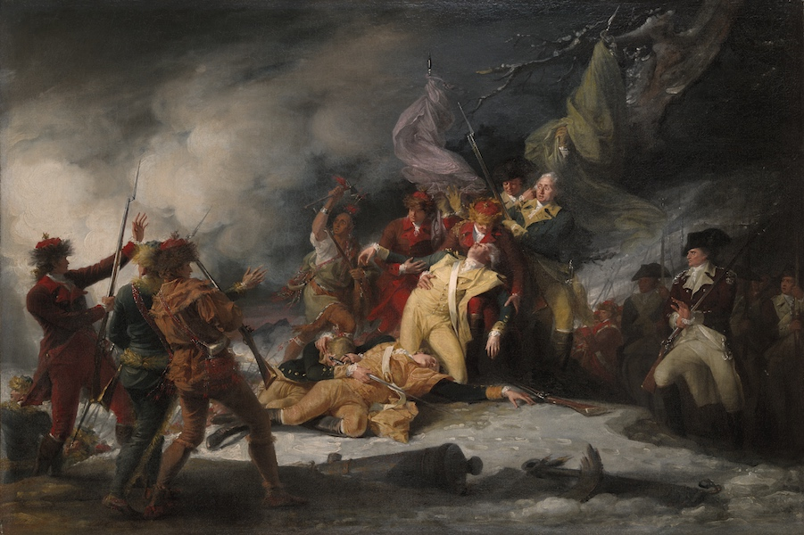 John Trumbull, The Death of General Montgomery in the Attack on Quebec, December 31, 1775, 1786, oil on canvas, 62.5 x 94 cm (Yale University Art Gallery)
