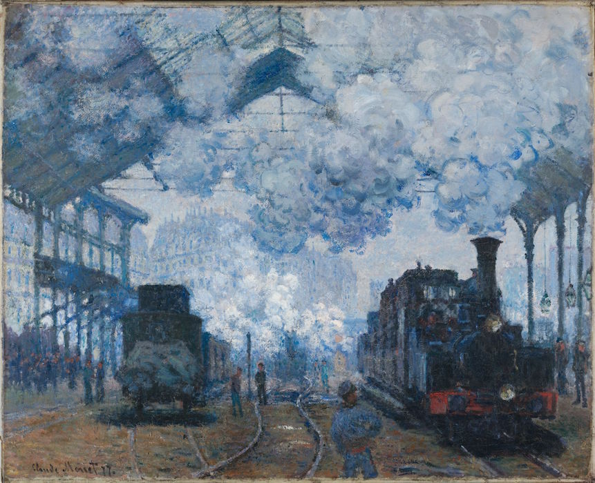 Claude Monet, The Gare Saint-Lazare: Arrival of a Train, 1877, oil on canvas, 83 x 101.3 cm (Harvard Art Museums)