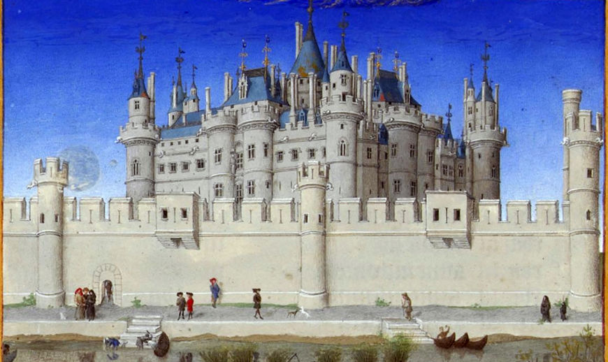 Herman, Paul and Jean de Limbourg, October (detail with Louvre), from Les Très Riches Heures du Duc de Berry, 1413-16, ink on vellum (Musée Condé, Chantilly)