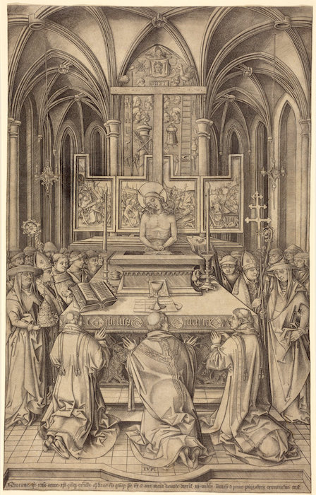 Israhel van Meckenem, The Mass of Saint Gregory, c. 1490/1500, engraving (National Gallery of Art)