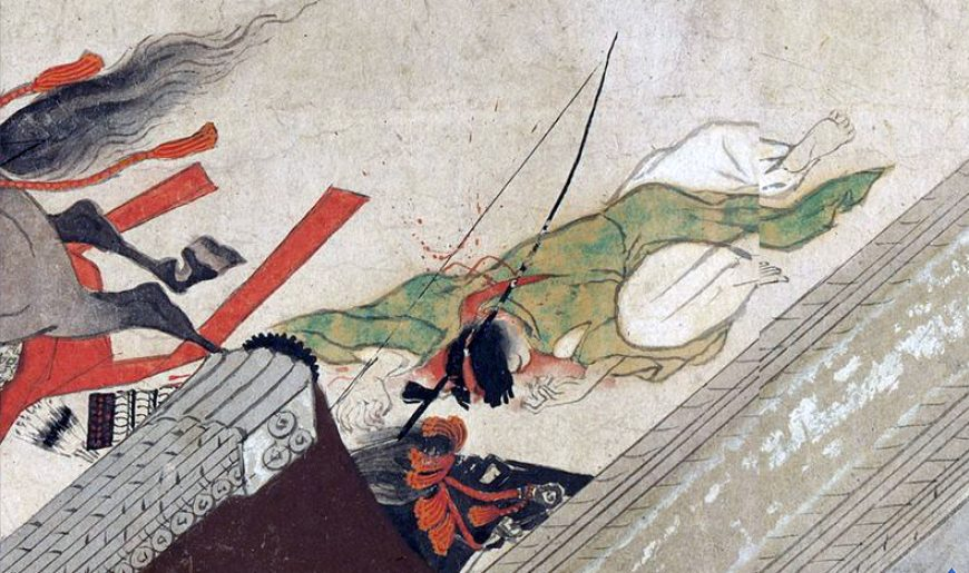 Night Attack on the Sanjô Palace (detail, dead archer), Illustrated Scrolls of the Events of the Heiji Era (Heiji monogatari emaki) Japanese, Kamakura period, second half of the 13th century, 45.9 x 774.5 x 7.6 cm (Museum of Fine Arts, Boston)
