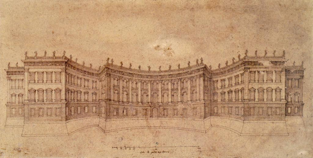 Gianlorenzo Bernini's Third Design for the east facade of the Louvre of 1665, Drawn by Mattia De Rossi