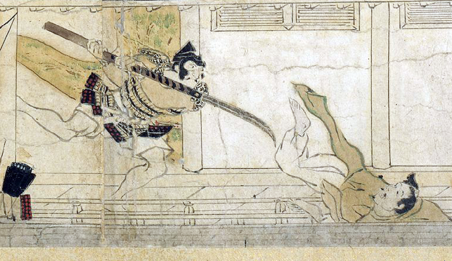 Night Attack on the Sanjô Palace (detail lower center), Illustrated Scrolls of the Events of the Heiji Era (Heiji monogatari emaki) Japanese, Kamakura period, second half of the 13th century, 45.9 x 774.5 x 7.6 cm (Museum of Fine Arts, Boston)