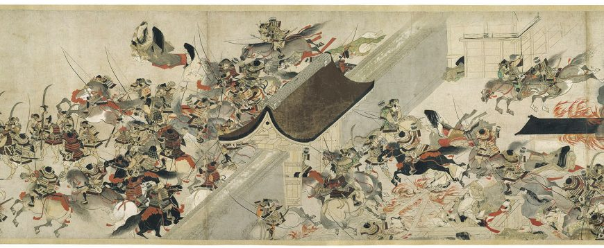 Night Attack on the Sanj™ Palace, from the Illustrated Scrolls of the Events of the Heiji Era (Heiji monogatari emaki) second half of the 13th century Handscroll; ink and color on paper * Fenollosa-Weld Collection * Photograph © Museum of Fine Arts, Boston -- 19GreatestPaintings