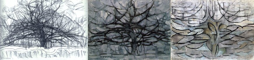 Three Trees by Piet Mondrian: Study for the Gray Tree, 1911, charcoal on paper, 58.4 x 86.5 cm (Gemeentemuseum, Den Haag); The Grey Tree, 1911, oil on canvas, 79.7 x 109.1 cm (Gemeentemuseum, Den Haag); Flowering Apple Tree, 1912, oil on canvas, 78.5 x 107.5 cm (Gemeentemuseum, Den Haag)