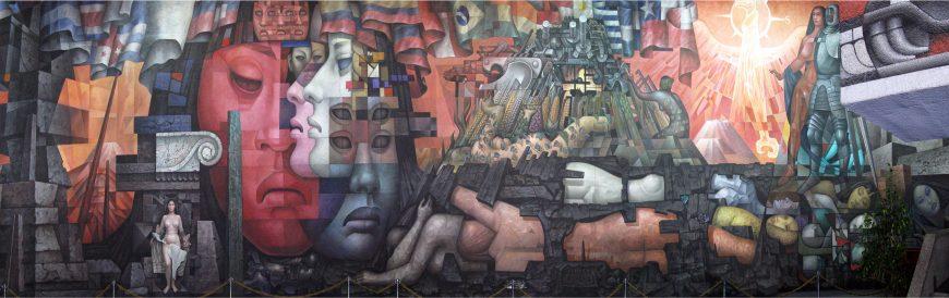 Jorge González Camarena, Presencia de América Latina, 1964-65, acrylic on stucco, 35,2 m × 6 m (Universidad de Concepción, Concepción, Chile)