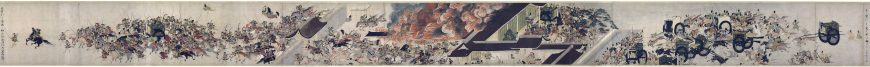Night Attack on the Sanjô Palace without text, Illustrated Scrolls of the Events of the Heiji Era (Heiji monogatari emaki) Japanese, Kamakura period, second half of the 13th century, 45.9 x 774.5 x 7.6 cm (Museum of Fine Arts, Boston)