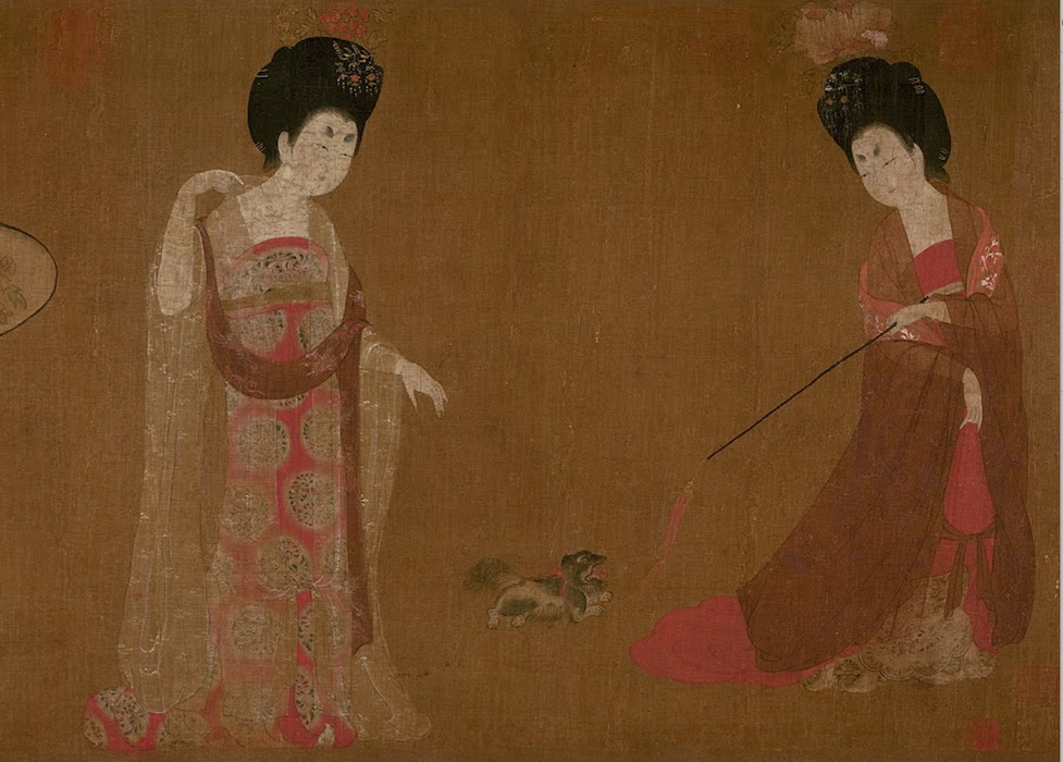 Two court ladies play with a dog (detail), attributed to Zhou Fang (active late 8th–early 9th century), Ladies Wearing Flowers in Their Hair, handscroll, ink and color on silk, 46 x 180 cm, Liaoning Provincial Museum, Shenyang province, China