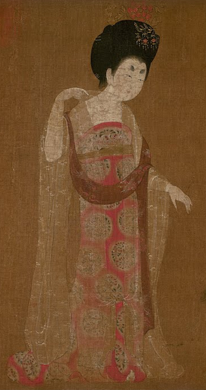 Attributed to Zhou Fang (active late 8th–early 9th century), Ladies Wearing Flowers in Their Hair, handscroll, ink and color on silk, 46 x 180 cm, Liaoning Provincial Museum, Shenyang province, China