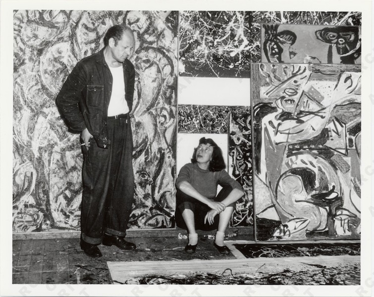 Jackson Pollock and Lee Krasner in front of his work, c. 1950 (Archives of American Art)