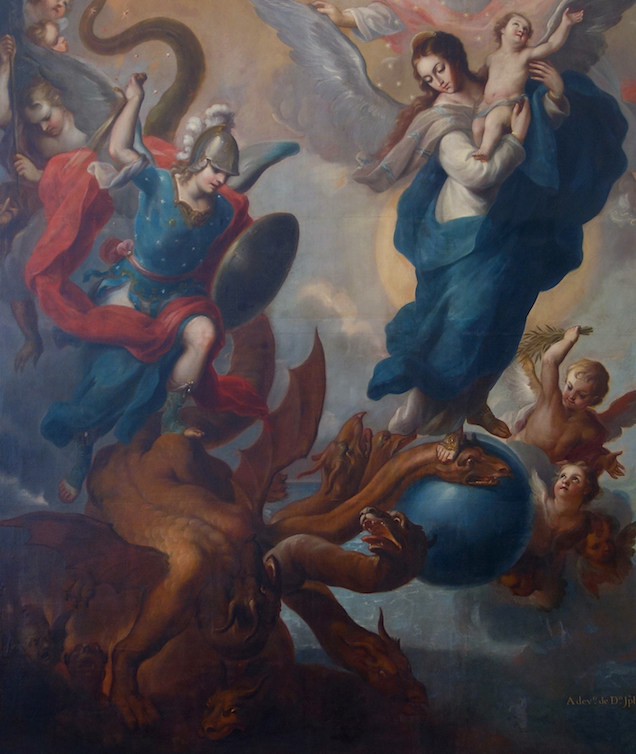 Left side (detail), Miguel Cabrera, The Virgin of the Apocalypse, 1760, oil on canvas, 352.7 x 340 cm (Museo Nacional de Arte, INBA)