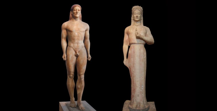 "Left: Anavysos (Kroisos) Kouros, c. 530 B.C.E., marble, 6' 4"" (National Archaeological Museum, Athens) Right: Aristion of Paros, Phrasikleia Kore, c. 550 - 540 B.C.E. Parian marble with traces of pigment, 211 cm high (National Archaeological Museum, Athens), photo: Asaf Braverman CC BY-NC-SA 2.0"