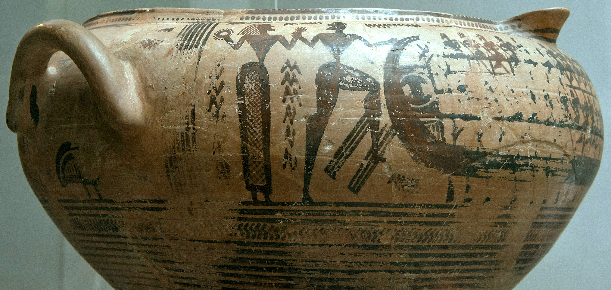 Late Geometric Attic spouted krater (vessel for mixing water and wine), possibly from Thebes, c. 730-720 B.C.E., 30.5 cm high (The British Museum, London), photo: Egisto Sani CC BY-NC-SA 2.0
