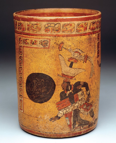 Cylindrical vessel with ball game scene, c. 682-701 C.E., Late Classic, Maya, ceramic, 20.48 cm high (Dallas Museum of Art)