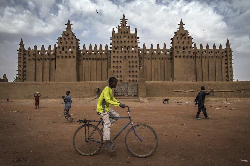 A view of the Great Mosque of Djenné, designated a World Heritage Site by UNESCO in 1988 along with the old town of Djenné, in the central region of Mali.