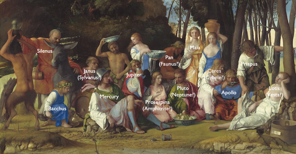 Annotated detail, Giovanni Bellini and Titian, The Feast of the Gods, 1514/29, oil on canvas, 170.2 x 188 cm (National Gallery of Art)