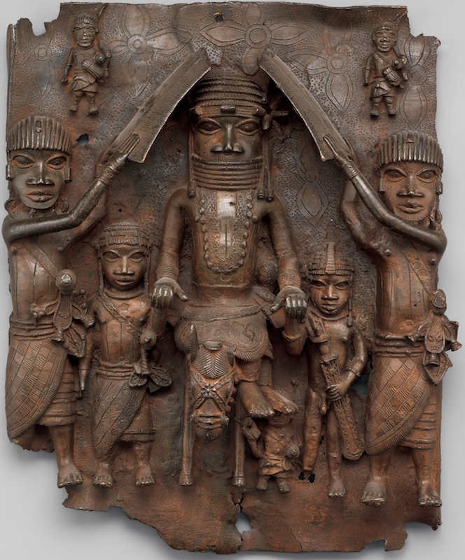 Plaque: Equestrian Oba and Attendants, 1550-1680, Nigeria, Court of Benin, Edo peoples, brass, 49.5 x 41.9 x 11.4 cm (The Metropolitan Museum of Art)