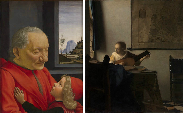 Right: Domenico Ghirlandaio, An Old Man and His Grandson, c. 1490, tempera on wood, 62 x 46 cm / 24.4 x 18.1 inches (Louvre Museum); Johannes Vermeer, Woman with a Lute, c. 1662-63, oil on canvas, 51.4 x 45.7 cm / 20 1/4 x 18 inches (The Metropolitan Museum of Art)
