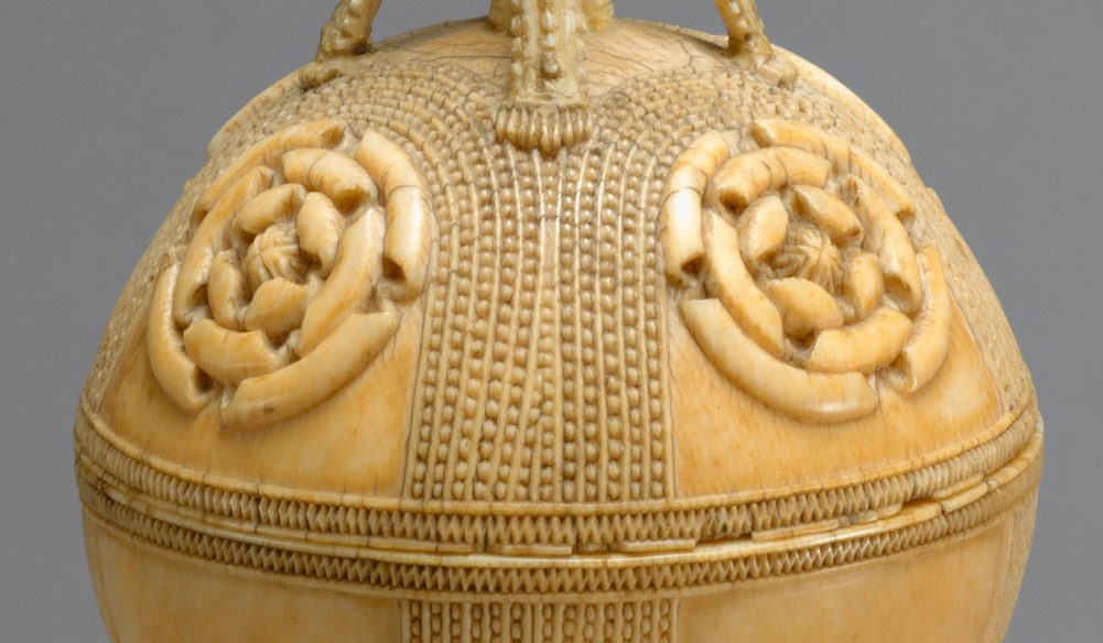 Rosettes (detail), Lidded Saltcellar, Sierra Leone, Sapi-Portugese, 15th-16th century, ivory, 29.8 cm high (The Metropolitan Museum of Art)