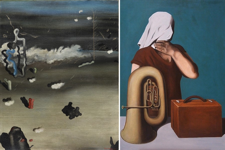 Left: Yves Tanguy, Apparitions, 1927, oil on canvas, 92.075 x 73.025 cm (Dallas Museum of Art); right: René Magritte, The Central Story, 1928, oil on canvas (Private collection)