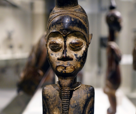 Male face (detail), Pair of Diviner's Figures, Côte d'Ivoire, central Côte d'Ivoire, Baule peoples, wood, pigment, beads and iron, 55.4 x 10.2 x 10.5 cm (The Metropolitan Museum of Art)