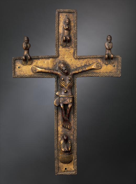 Crucifix, 16th-17th century, Democratic Republic of the Congo; Angola; Republic of the Congo, solid cast brass, 27.3 cm high (The Metropolitan Museum of Art)