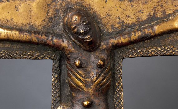 Detail, Crucifix, 16th-17th century, Democratic Republic of the Congo; Angola; Republic of the Congo, solid cast brass, 27.3 cm high (The Metropolitan Museum of Art)