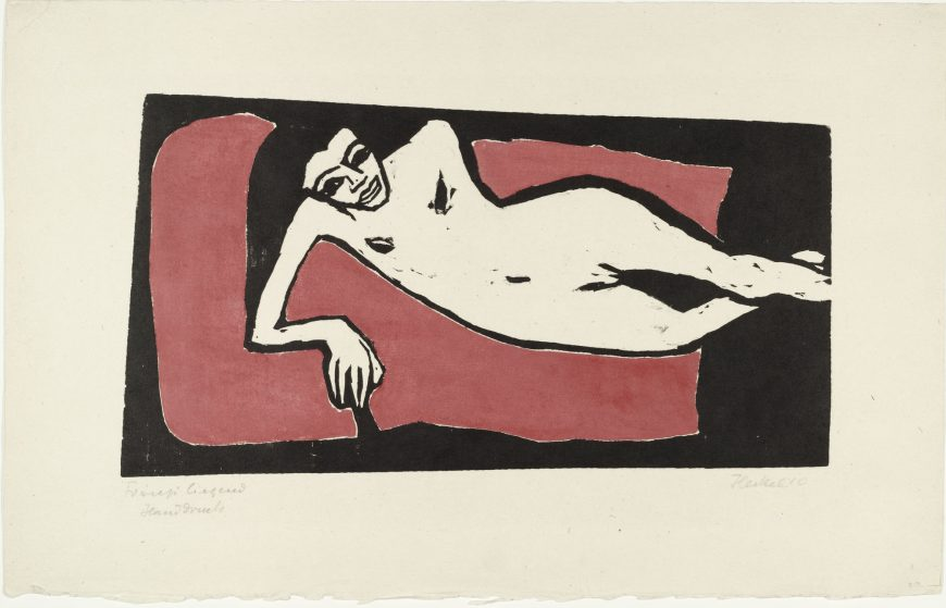 Erich Heckel, Fränzi Reclining, 1910, woodcut, 35.6 x 55.5 cm (The Museum of Modern Art)